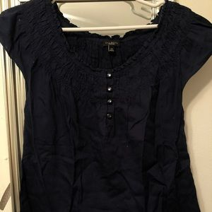 Talbots Navy Blue Short Sleeve Blouse